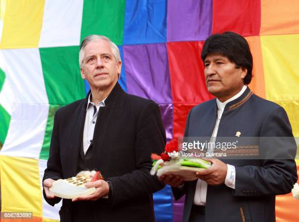 Bolivian President Evo Morales and Vice President Alvaro Garcia Lineara attend a vigil and rituals to the Pachamama organised by different social...