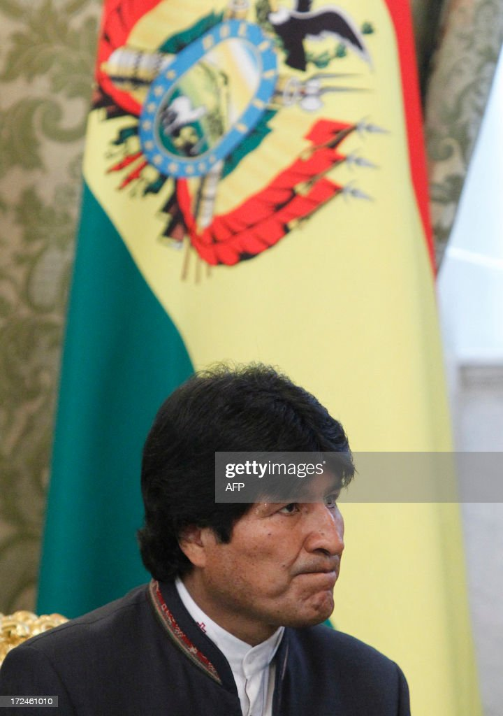 Bolivian President Evo Morales attends a meeting with his Russian counterpart Vladimir Putin at the Kremlin in Moscow, on July 2, 2013. Fugitive US intelligence leaker Edward Snowden was denied asylum by a host of countries today after applying for a safe haven in 21 nations spanning the globe in hopes of winning protection from American justice. Bolivian President Evo Morales said his country was willing to consider giving Snowden asylum.