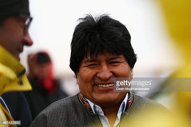 Bolivian President Evo Morales Ayma arrives at the start line during day 9 of the Dakar Rally on the Salar de Uyuni or Uyuni Salt Flats on January 12...