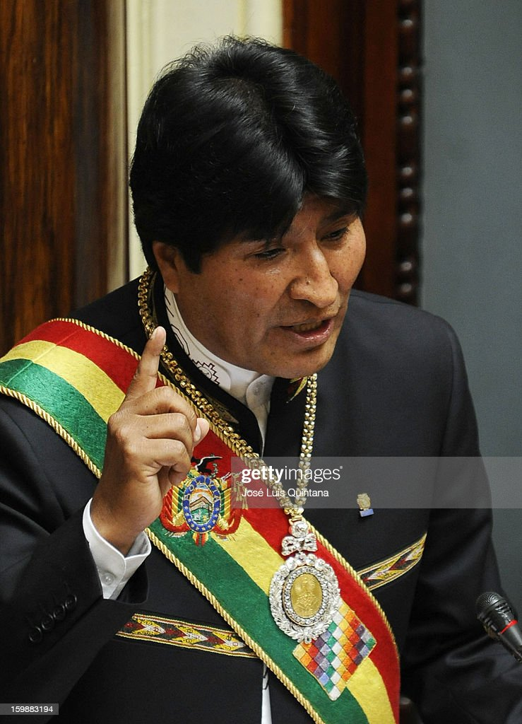 Bolivian President <a gi-track='captionPersonalityLinkClicked' href=/galleries/search?phrase=Evo+Morales&family=editorial&specificpeople=272981 ng-click='$event.stopPropagation()'>Evo Morales</a> Ayma during his speech to inform about his government during the celebration of the third anniversary of the foundation of the Plurinational State of Bolivia on January 22, 2013 in La Paz, Bolivia.