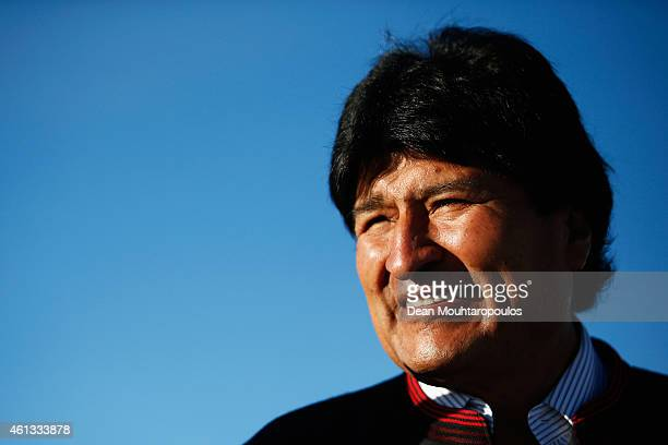 Bolivian President Evo Morales Ayma watches the action during day 8 of the Dakar Rallly on the Salar de Uyuni or Uyuni Salt Flats on January 11 2015...