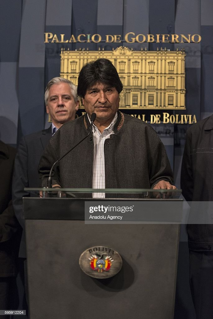 Bolivian President Evo Morales gives a speech during a press conference at the Government Palace in La Paz Bolivia on August 26 2016 Evo Morales...