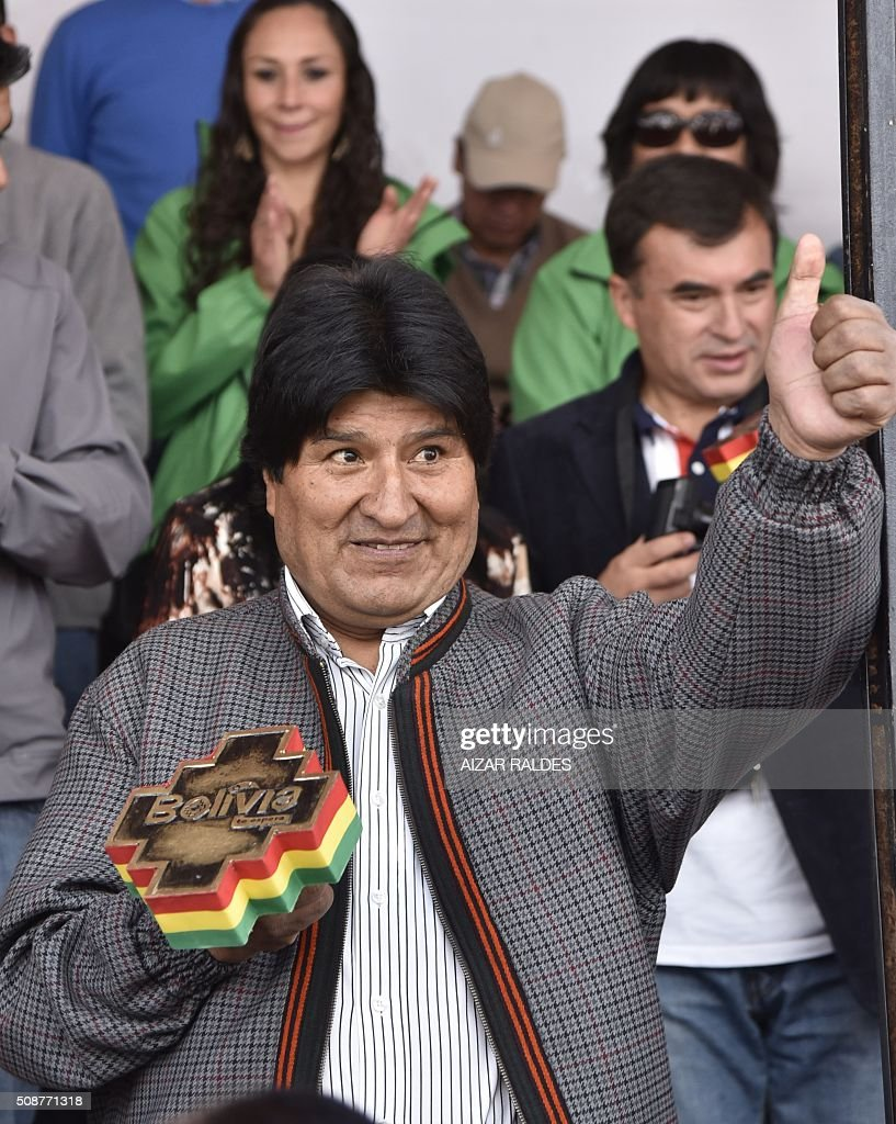 Bolivian President Evo Morales greets the crowd during the Oruro Carnival, in this Bolivian city, 240 km south of La Paz, on February 6, 2016. The Carnival of Oruro is a UNESCO Masterpiece of the Oral and Intangible Heritage of Humanity. AFP PHOTO/AIZAR RALDES / AFP / AIZAR RALDES