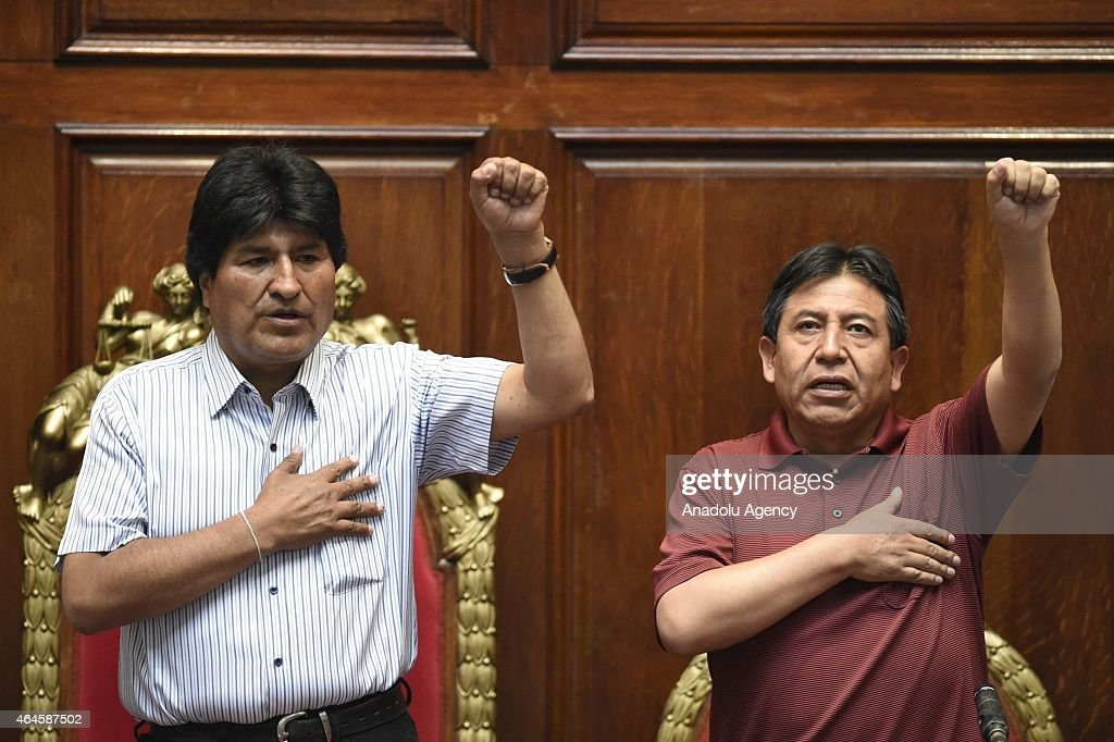 Bolivian President <a gi-track='captionPersonalityLinkClicked' href=/galleries/search?phrase=Evo+Morales&family=editorial&specificpeople=272981 ng-click='$event.stopPropagation()'>Evo Morales</a> (L) seen next to Bolivian Foreign Minister <a gi-track='captionPersonalityLinkClicked' href=/galleries/search?phrase=David+Choquehuanca&family=editorial&specificpeople=589843 ng-click='$event.stopPropagation()'>David Choquehuanca</a> (R) during an event at Uruguay's University of the Republic in Montevideo, Uruguay on February 26, 2015.