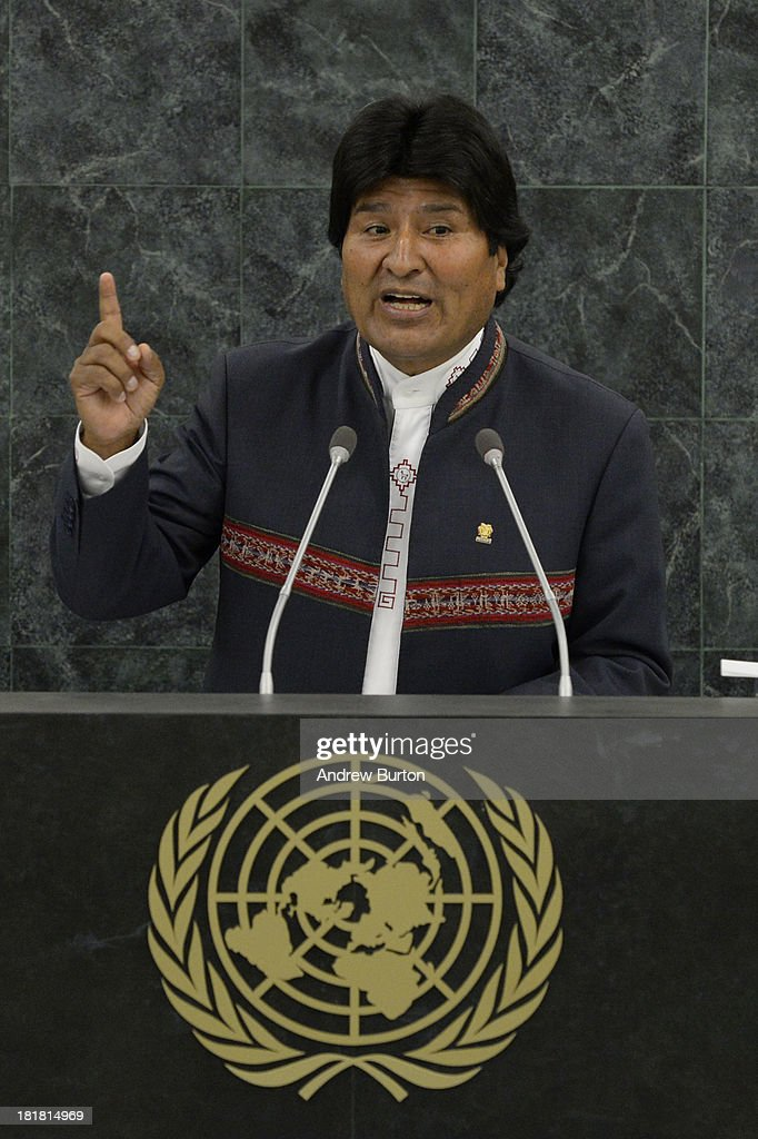 Bolivian President <a gi-track='captionPersonalityLinkClicked' href=/galleries/search?phrase=Evo+Morales&family=editorial&specificpeople=272981 ng-click='$event.stopPropagation()'>Evo Morales</a> speaks at the 68th United Nations General Assembly on September 25, 2013 in New York City. Over 120 prime ministers, presidents and monarchs are gathering this week for the annual meeting at the temporary General Assembly Hall at the U.N. headquarters while the General Assembly Building is closed for renovations.