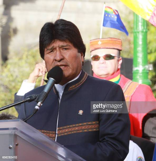 Bolivian President Evo Morales speaks during a vigil and rituals to the Pachamama organised by different social organizations in support to the...