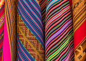 Colorful Bolivian textiles on a local art and craft market in La Paz, Bolivia, South America.