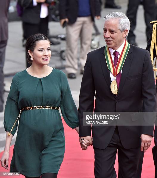 Bolivian Vice President Alvaro Garcia Linera (R) and his ...