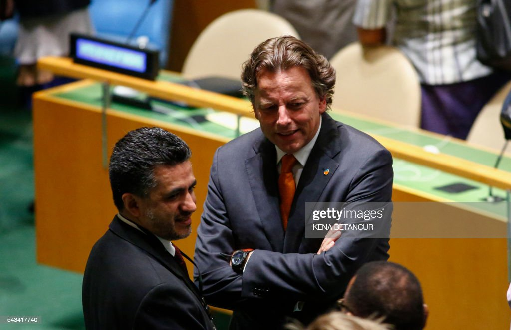 Bolivia's ambassador to the UN, Sacha Llorentis (L) speaks with Dutch Foreign Minister Bert Koenders before the Election of five non-permanent members of the Security Council at the United Nations in New York on June 28 2016. Three European countries and two Asian nations are battling for seats on the UN Security Council in elections that are drawing attention to the refugee crisis and human rights. / AFP / KENA