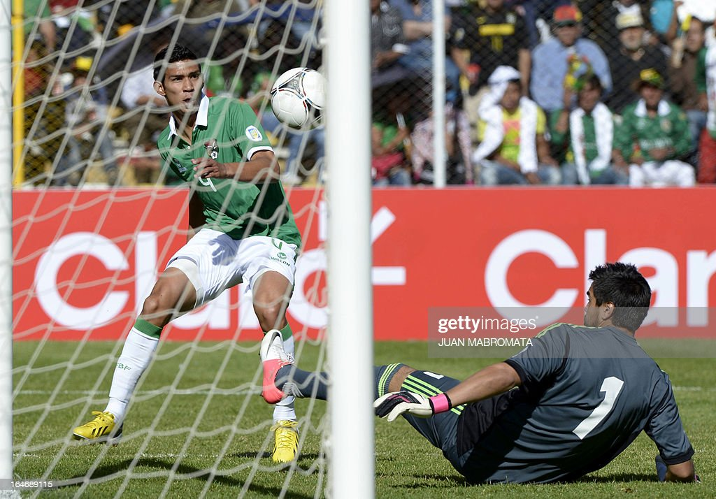Bolivia's Danny Bejarano (L) tries to score past Argentina's goalkeeper Sergio Romero during their Brazil 2014 FIFA World Cup South American qualifier football match, at the Hernando Siles stadium in La Paz, on March 26, 2013.