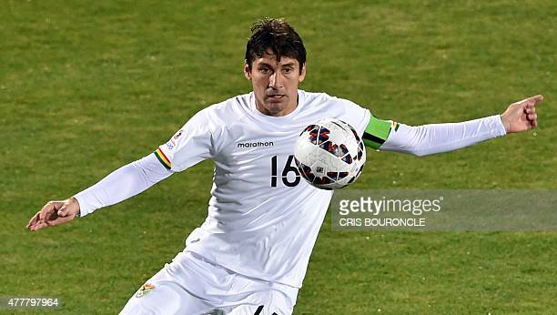 Bolivia's defender Ronald Raldes eyes the ball during the 2015 Copa America football championship match against Chile in Santiago on June 19 2015 AFP...