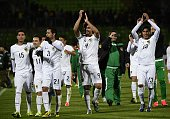 Bolivia's footballers celebrate after their 2015 Copa America football championship match against Ecuador in Valparaiso Chile on June 15 2015 Bolivia...