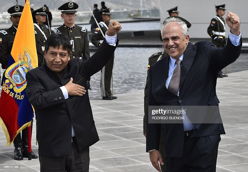Bolivia's Foreign Minister <a gi-track='captionPersonalityLinkClicked' href=/galleries/search?phrase=David+Choquehuanca&family=editorial&specificpeople=589843 ng-click='$event.stopPropagation()'>David Choquehuanca</a> (L) and UNASUR's Secretary General <a gi-track='captionPersonalityLinkClicked' href=/galleries/search?phrase=Ernesto+Samper&family=editorial&specificpeople=1149501 ng-click='$event.stopPropagation()'>Ernesto Samper</a> wave upon arrival to take part in the UNASUR meeting in Quito, on March 14, 2015. Ecuador called for an UNASUR special meeting to analize the US sanctions on Venezuela and dennounces of destabilization of the government of President Nicolas Maduro.