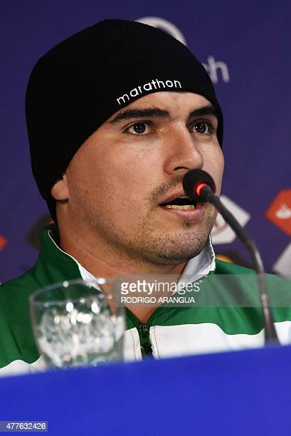 Bolivia's goalkeeper Hugo Suarez speaks during a press conference at the Nacional Stadium in Santiago on June 18 during the Copa America football...