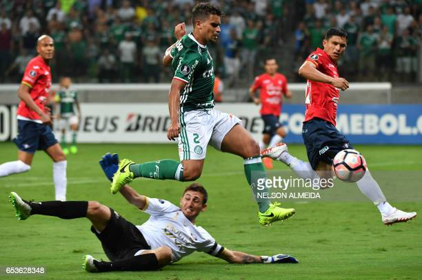 Bolivia's Jorge Wilstermann goalkeeper Raul Olivares tries to stop Jean of Brazil's Palmeiras during their 2017 Copa Libertadores football match held...