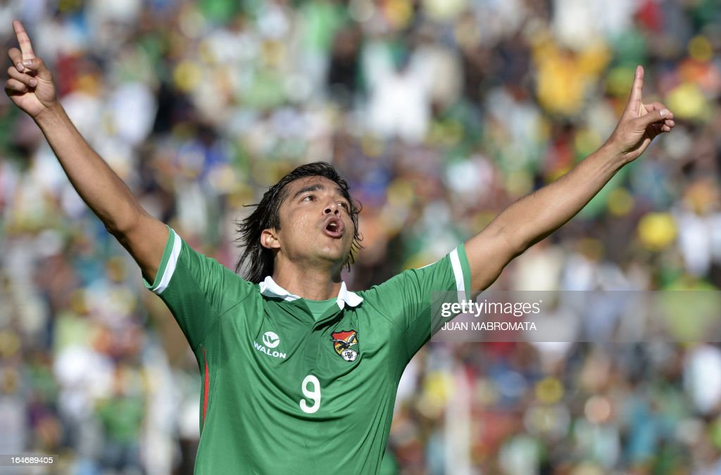 Bolivia's Marcelo Moreno Martins celebrates after scoring against Argentina during their Brazil 2014 FIFA World Cup South American qualifier football...