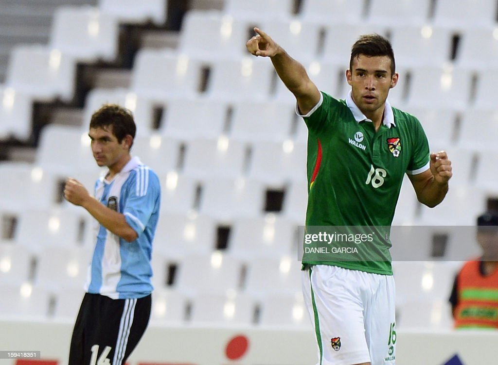 Bolivia's midfielder Danny Bejarano celebrates after scoring against Argentina during their Group A South American U-20 qualifier football match at Malvinas Argentinas stadium in Mendoza, Argentina, on January 13, 2013. Four teams will qualify for the FIFA U-20 World Cup Turkey 2013.