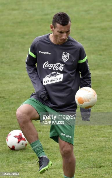 Bolivia's national football team player Pablo Escobar takes part in a training session in La Paz on March 18 2017 ahead of their South American 2018...