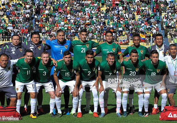 Bolivia's national team poses before their Russia 2018 FIFA World Cup South American Qualifiers' football match against Colombia in La Paz on March...