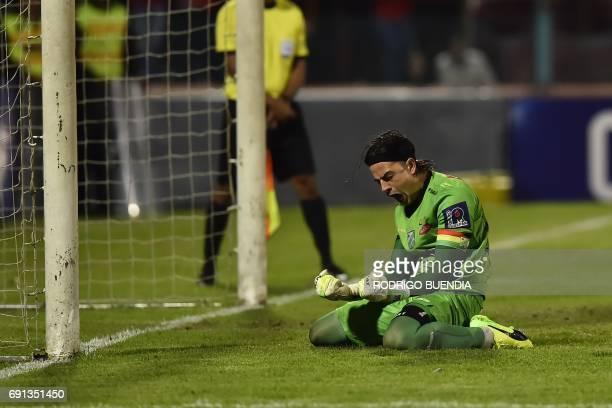Bolivia's Oriente Petrolero goalkeeper Guillermo Viscarra celebrates a victory against Deportivo Cuenca from Ecuador during their 2017 Copa...