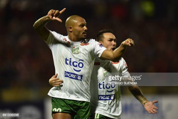 Bolivia's Oriente Petrolero player Maximiliano Freitas celebrates a goal against Ecuador's Deportivo Cuenca during their 2017 Copa Sudamericana...