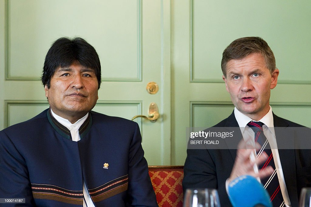 Bolivia's President Evo Morales (L) and Norwegian Minister of Environment and International Development, Erik Solheim give a press conference on May 20, 2010 during an official visit. Morales, who was the first indigenous head of state to be elected in 2005 and was widely re-elected to head Bolivia in December 2009, said he was 'absolutely convinced that discrimination would have continued, not only in Latin America but also in Bolivia' had he not been elected. Morales was also to discuss climate with his Norwegian counterparts during his three day visit.
