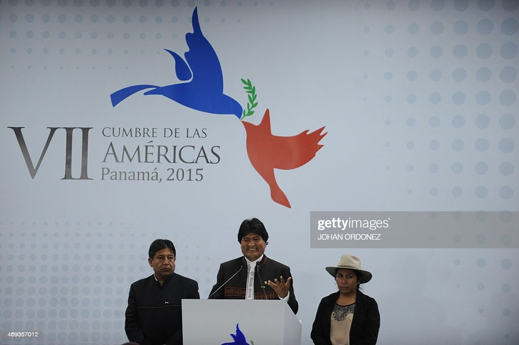 Bolivia's President <a gi-track='captionPersonalityLinkClicked' href=/galleries/search?phrase=Evo+Morales&family=editorial&specificpeople=272981 ng-click='$event.stopPropagation()'>Evo Morales</a> gives a press conference accompanied by his Foreign Affairs minister <a gi-track='captionPersonalityLinkClicked' href=/galleries/search?phrase=David+Choquehuanca&family=editorial&specificpeople=589843 ng-click='$event.stopPropagation()'>David Choquehuanca</a> (L) and Communication minister Marianela Paco, after the First Plenary Session of the VII Americas Summit in Panama City on April 11, 2015. AFP PHOTO / JOHAN ORDONEZ