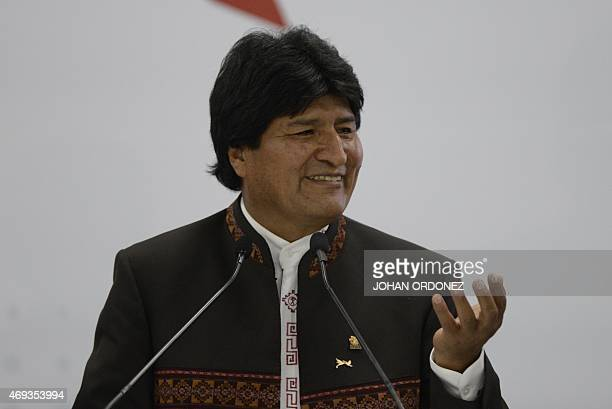 Bolivia's President Evo Morales gives a press conference after the First Plenary Session of the VII Americas Summit in Panama City on April 11 2015...