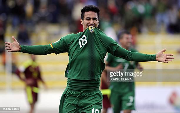Bolivia's Rodrigo Ramallo celebrates after scoring against Venezuela during their Russia 2018 FIFA World Cup South American Qualifiers football match...