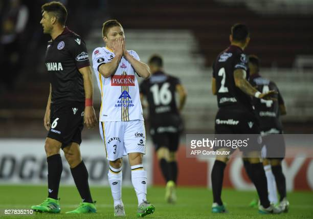 Bolivia's The Strongest midfielder Alejandro Chumacero reacts during the Copa Libertadores 2017 round of 16 second leg football match against...