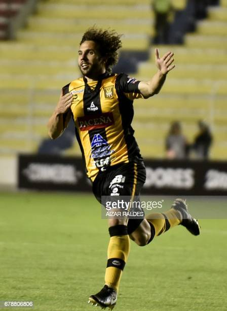 Bolivia's The Strongest player Fernando Marteli celebrates after scoring against Peru's Sporting Cristal during their Copa Libertadores match at...