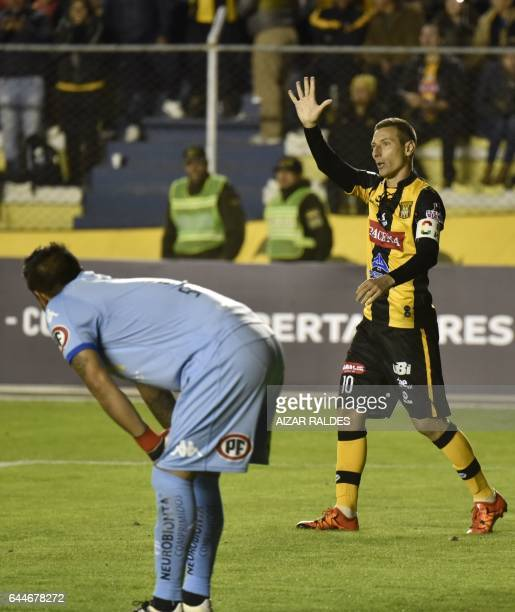 Bolivia's The Strongest player Pablo Escobar celebrates after scoring against Chile's Union Espanola during their Libertadores Cup match at Hernando...