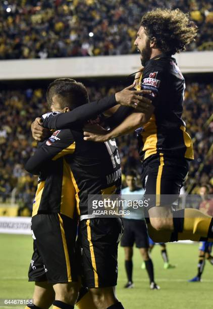 Bolivia's The Strongest player Pablo Escobar celebrates with teammates after scoring against Chile's Union Espanola during their Libertadores Cup...