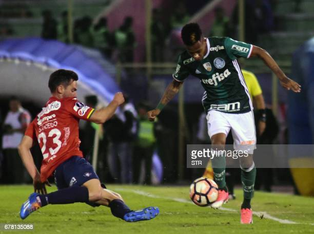 Bolivia's Wilstermann player Fernando Saucedo vies for the ball with Tche Tche of Brazil's Palmeiras during their Copa Libertadores football match at...
