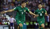 Bolivia's Yasmani Duk celebrates after scoring against Paraguay during their Russia 2018 FIFA World Cup South American Qualifiers football match in...