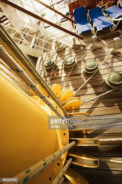 Bollards and pulleys of a sailing ship