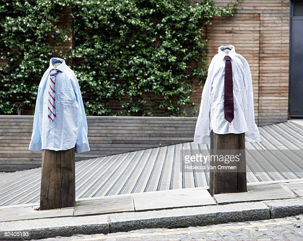 Bollards wearing shirts and ties