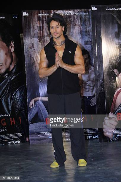 Bollwood actor Tiger Shroff during the promotion of film Baagi at Mehboob Studio Bandra on April 13 2016 in Mumbai India
