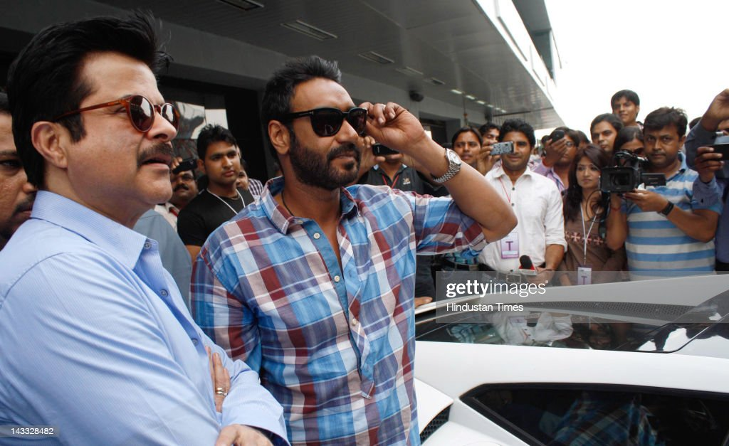 Bollwood actors <a gi-track='captionPersonalityLinkClicked' href=/galleries/search?phrase=Anil+Kapoor&family=editorial&specificpeople=563857 ng-click='$event.stopPropagation()'>Anil Kapoor</a> (L) and Ajay Devgn visit the Buddh International Formula 1 Circuit to promote their upcoming film 'Tezz' on April 23, 2012 in Greater Noida, India. Directed by Priyadarshan, the upcoming thriller is due to be released on April 27, 2012.