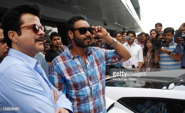 Bollwood actors Anil Kapoor and Ajay Devgn visit the Buddh International Formula 1 Circuit to promote their upcoming film 'Tezz' on April 23 2012 in...