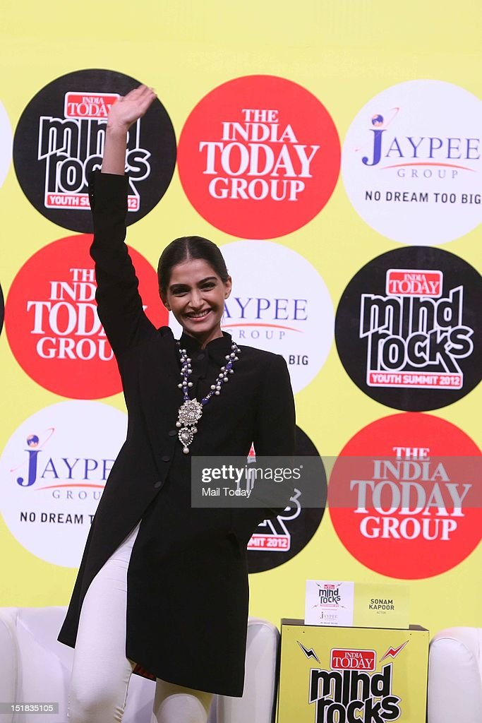 Bollwyood actor Sonam Kapoor during the India Today Mind Rocks Youth Summit 2012 in New Delhi on Friday.