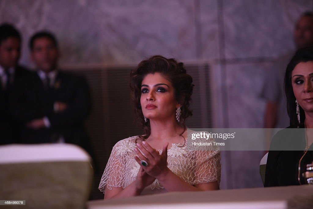 Bollywod actor <a gi-track='captionPersonalityLinkClicked' href=/galleries/search?phrase=Raveena+Tandon&family=editorial&specificpeople=3007225 ng-click='$event.stopPropagation()'>Raveena Tandon</a> during 8th Geospa Asiaspa India Awards Ceremonyat JW Marriot on March 30, 2015 in New Delhi, India.