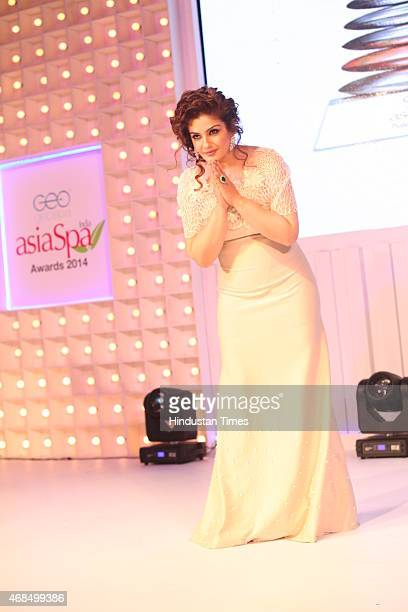 Bollywod actor Raveena Tandon during 8th Geospa Asiaspa India Awards Ceremonyat JW Marriot on March 30 2015 in New Delhi India