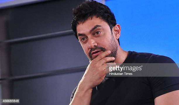 Bollywood actor Aamir Khan during the press conference for the promotion of new season of 'Satyamev Jayate' serial on October 5 2014 in Chandigarh...
