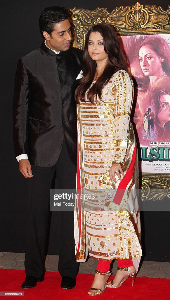 Bollywood actor Abhishek Bachchan and Aishwarya Bachchan at the grand premiere of Yash Chopra's film Jab Tak ai Jaan at YRF Studios in Mumbai on Monday.