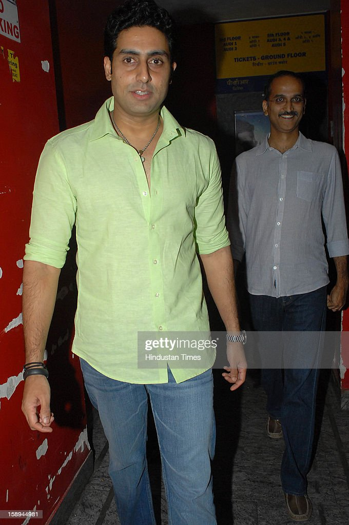 Bollywood actor Abhishek Bachchan and Rohan Shetty attending special screening hosted by Ritesh Deshmukh for his first home production Marathi film 'Balak Palak' at PVR Juhu on January 2, 2012 in Mumbai, India.