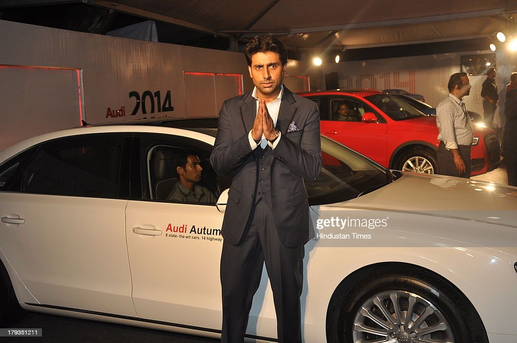 Bollywood actor Abhishek Bachchan during FDCI and Audi India's winter collection at Tote, Mahalaxmi Race Course on August 30, 2013 in Mumbai, India.
