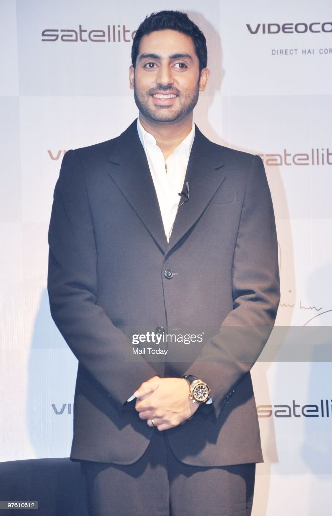 Bollywood actor <a gi-track='captionPersonalityLinkClicked' href=/galleries/search?phrase=Abhishek+Bachchan&family=editorial&specificpeople=549431 ng-click='$event.stopPropagation()'>Abhishek Bachchan</a> poses after becoming the Brand Ambassador of Videocon's d2h in Mumbai in Mumbai on March 9, 2010.