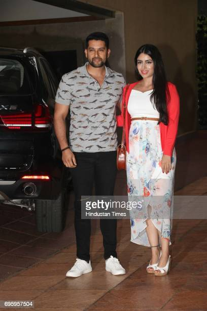 Bollywood actor Aftab Shivdasani and his wife Nin Dusanj attending the first birthday party of Tusshar Kapoor's son Laksshya on June 1 2017 on Mumbai...