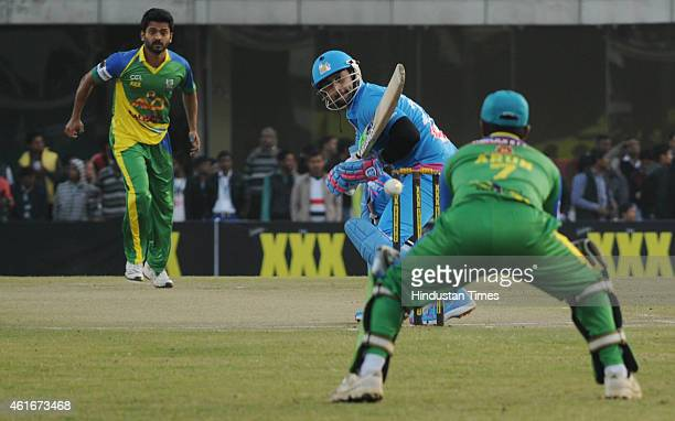 Bollywood actor Aftab Shivdasani in action against Kerala Striker during the Celebrity Cricket League season 3 at JCA International Cricket Stadium...
